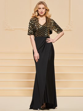 Ericdress Sheath Sequin Straps V Neck Evening Dress
