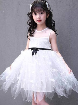 Ericdress Mesh Appliques Girl's Scoop Sleeveless Princess Dress