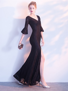 Ericdress Sheath V Neck Black Half Sleeve Evening Dress