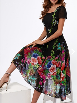 Women's Dress Floral Square Neck Trumpet
