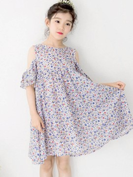 Ericdress Floral Print Off-The-Shoulder Girl's Summer Dress