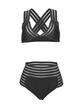 Ericdress Plain Highwaist Bikini Swimsuits