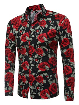 ericdress mens estampado floral slim fit camisa casual