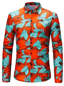 Ericdress Mens Colordul Print Slim Fit Shirt