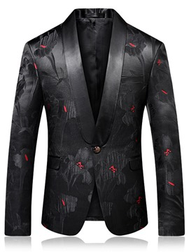 Ericdress Floral Slim Notched Lapel Mens One Button Blazer Jacket