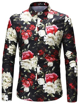 Ericdress Lapel Color Block Mens Floral Print Single Breasted Shirt