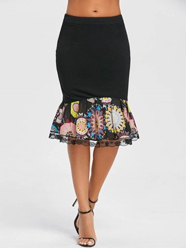 Ericdress Lace Patchwork Print Women's Skirt