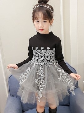 Ericdress Mesh Patchwork Girl's Long Sleeve Ball Gown