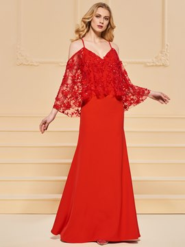 Ericdress Spaghetti Straps Cap Sleeve Applique Red Evening Dress