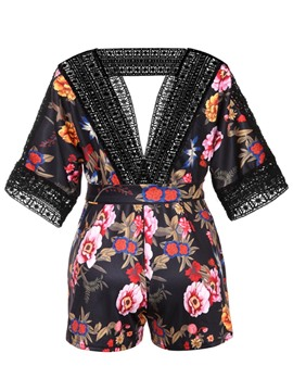 Ericdress Backless Floral Print Women's Rompers