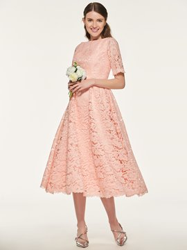 Ericdress Short Sleeve Tea Length Lace Bridesmaid Dress