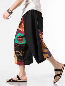Ericdress Print Colo Block Mens Summer Casual Pants