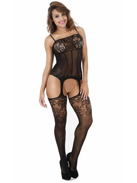 Ericdress Crotchless Spaghetti Strap Hollow Pantyhose Bodystocking