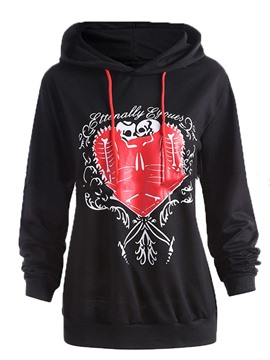 Ericdress Plus-Size Heart Shaped Print Cool Hoodie