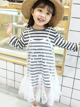 Ericdress Mesh See-Through Stripe Lace Girl's Outfits Vest Dress