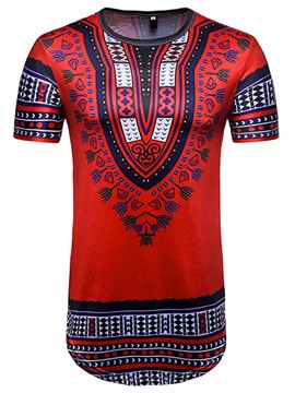 Ericdress Dashiki Mens Color Block Slim Short Sleeve Long T Shirt