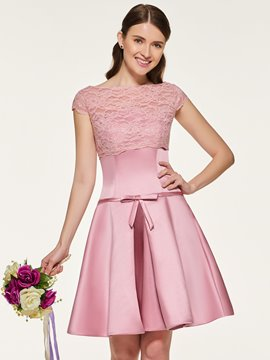 Ericdress Bateau Neck Lace Short Bridesmaid Dress