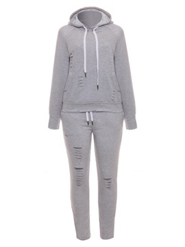 Ericdress Hoodie and Hole Pants Women's Two Piece Set