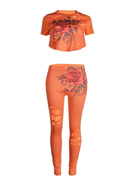 Ericdress Print Letter T-Shirt and Pants Women's Two Piece Set