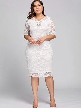 Ericdress Lace Plus V-Neck Plain Knee-Length Bodycon Dress