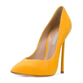 Ericdress Yellow Pointed Toe Slip-On Stiletto Heel Pumps
