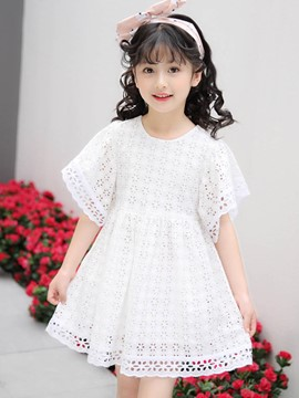 Ericdress Hollow Lace Girl's Ruffle Sleeve Short Sleeve Dress