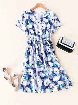 Ericdress Floral Printing Round Neck Women's Short Day Dress