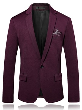 Ericdress Lapel Solid Color Slim Fit Men's Blazer
