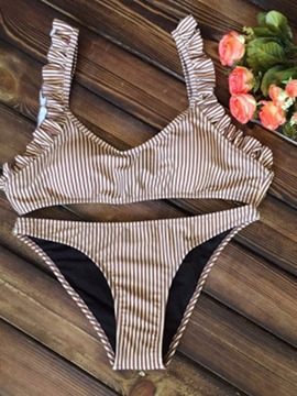 Ericdress Stripe Khaki 2-Pcs Bikini Swimsuits