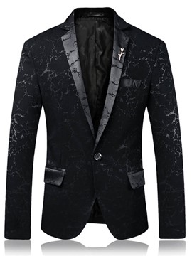 Ericdress Notched Lapel Mens One Button Slim Blazer Jacket