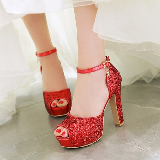 Ericdress Sequin T-Shaped Buckle Peep Toe Wedding Shoes
