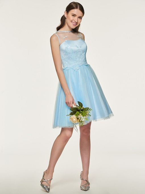 Ericdress A Line Tulle Appliques Short Bridesmaid Dress