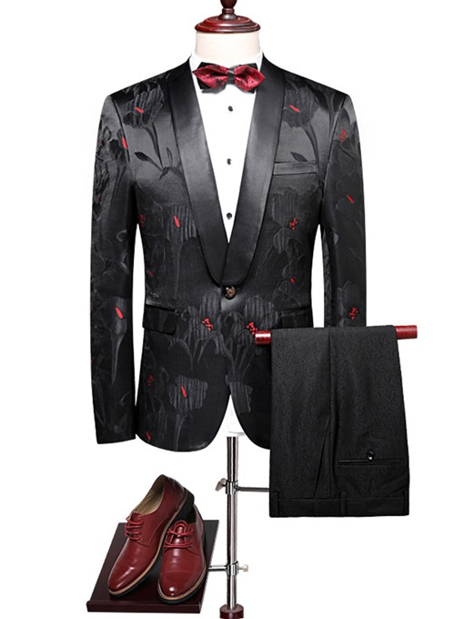Ericdress Lapel Print Slim One Button Men's Blazer Suits