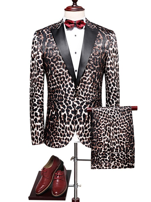 Ericdress Leopard Print Patchwork Slim Fit Men's Blazer Suits