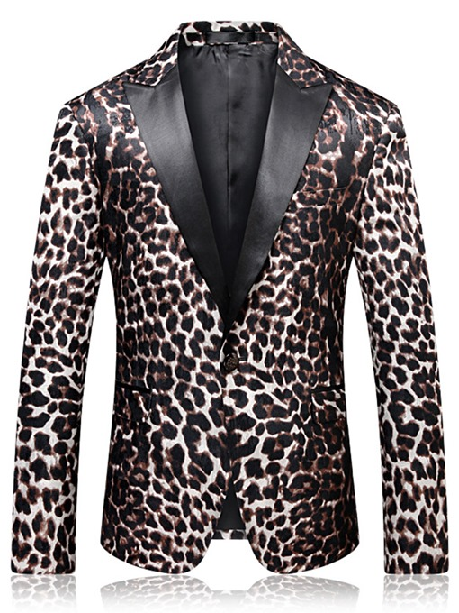 Ericdress Leopard One Button Mens Notched Lapel Slim Fit Blazer Jacket
