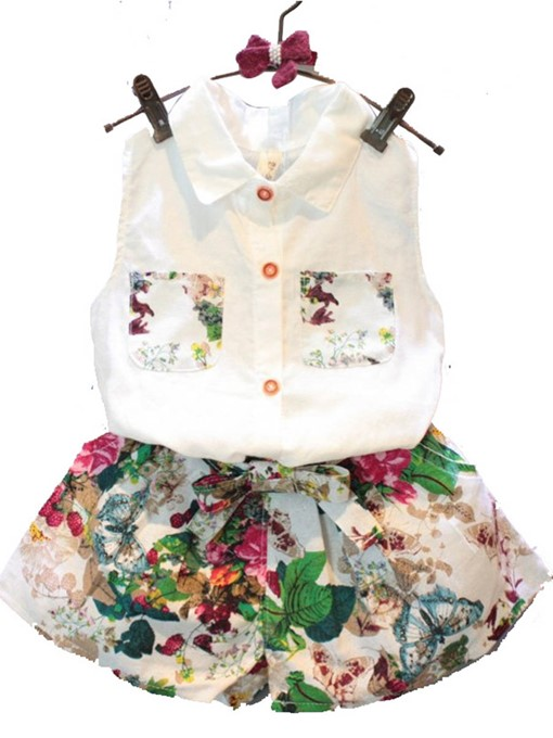 Ericdress Floral Print Bowknot Sleeveless Shirt Pants Girl's Outfits