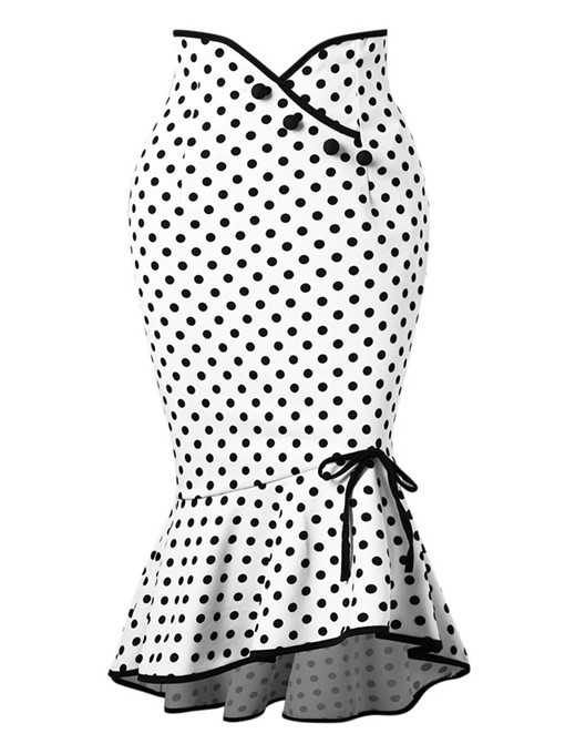 Ericdress Polka Dots Bowknot Mermaid Women's Skirt