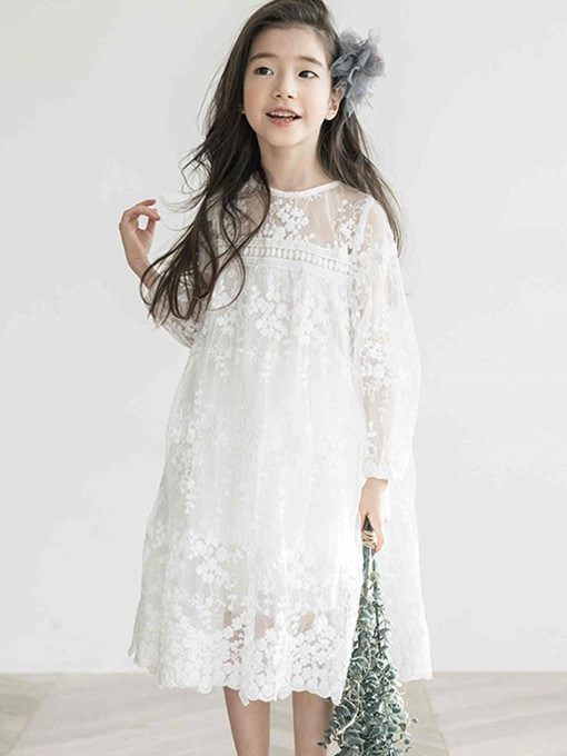 Ericdress Lace See-Through Plain Long Sleeve Wedding Girl's Princess Dress
