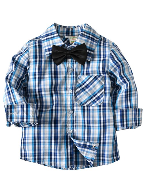 Ericdress Plaid Patchwork Lapel Baby Boy's Cotton Shirt