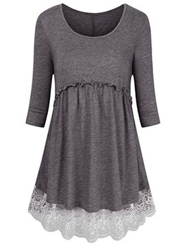 Ericdress Slim Patchwork Lace Mid-Length Tee Shirt