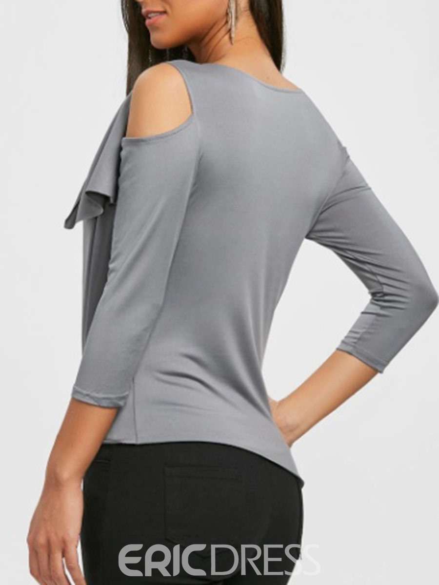 Ericdress Slim Plain Oblique Collar Tee Shirt