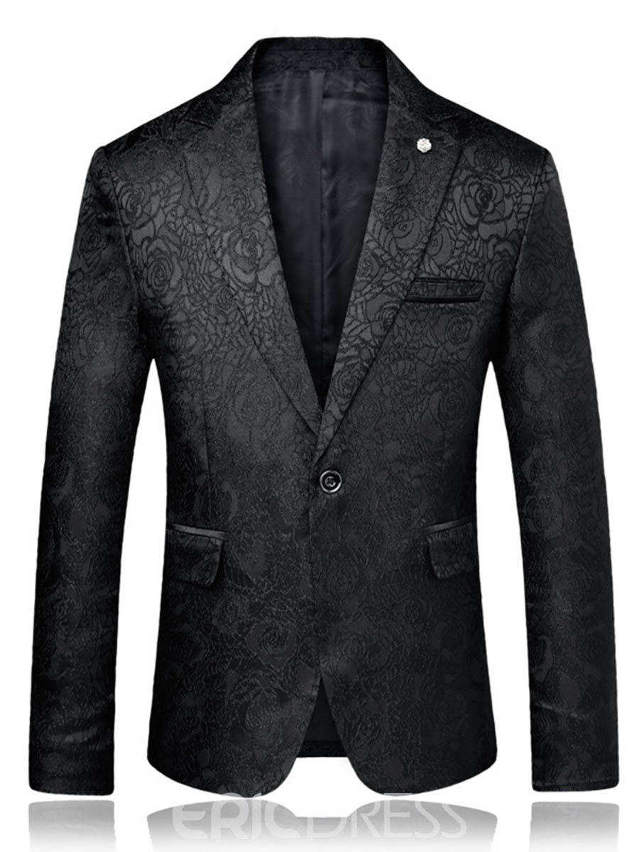 Ericdress Plain One Button Notched Lapel Mens Blazer Jacket
