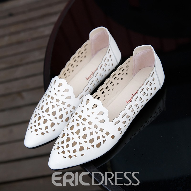 Ericdress Hollow Pointed Toe Plain Women's Flats