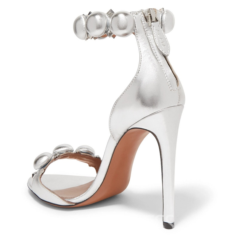 Ericdress Beads Decorated Open Toe Stiletto Sandals