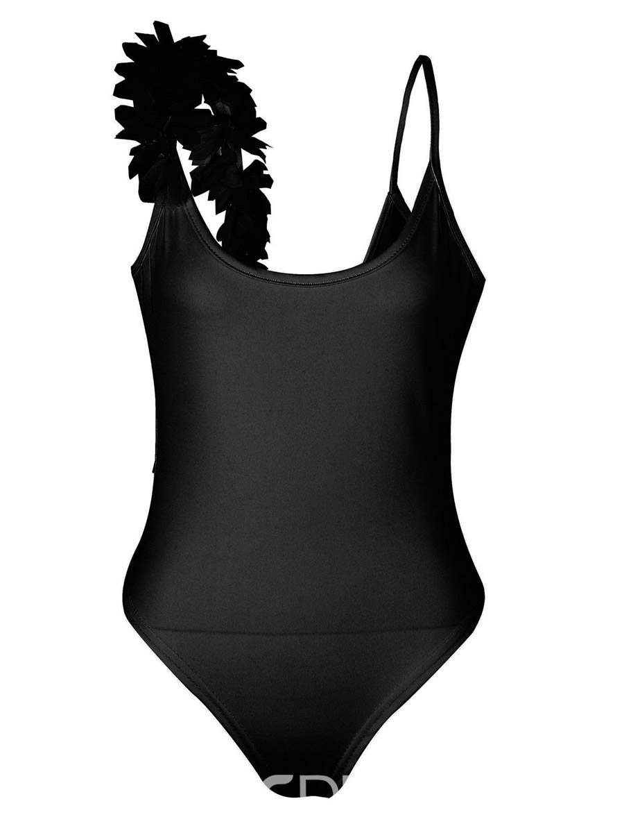 Ericdress Plain Trimming Shoulder One Piece Swimwear Monokini