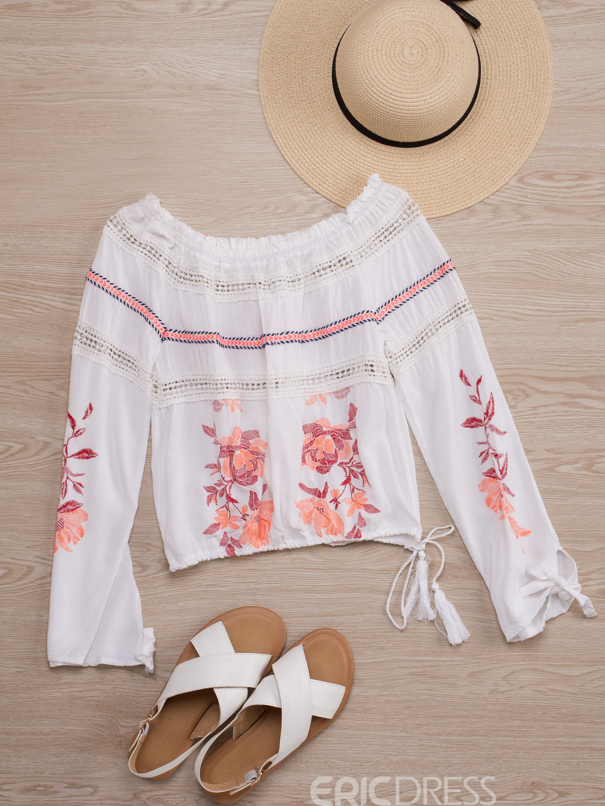 Ericdress Slash Neck Flower Print Embroidery Blouse