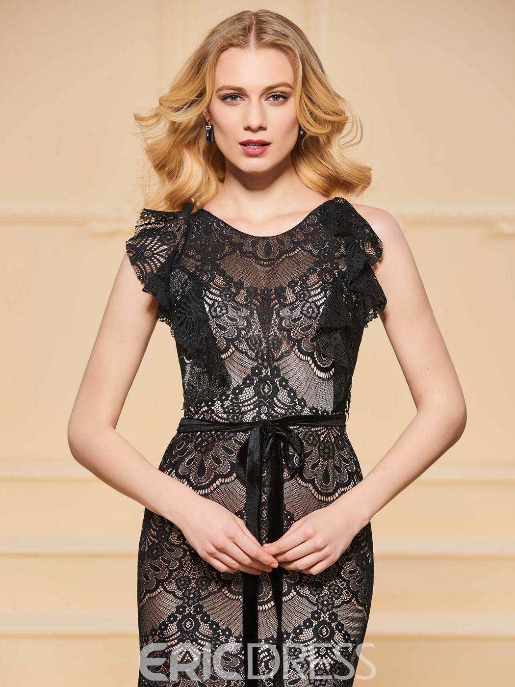 Ericdress Sheath Scoop Neck Black Lace Evening Dress