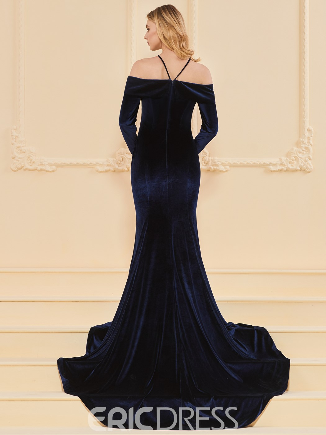 Ericdress Halter Velvet Mermaid Evening Dress With Sweep Train