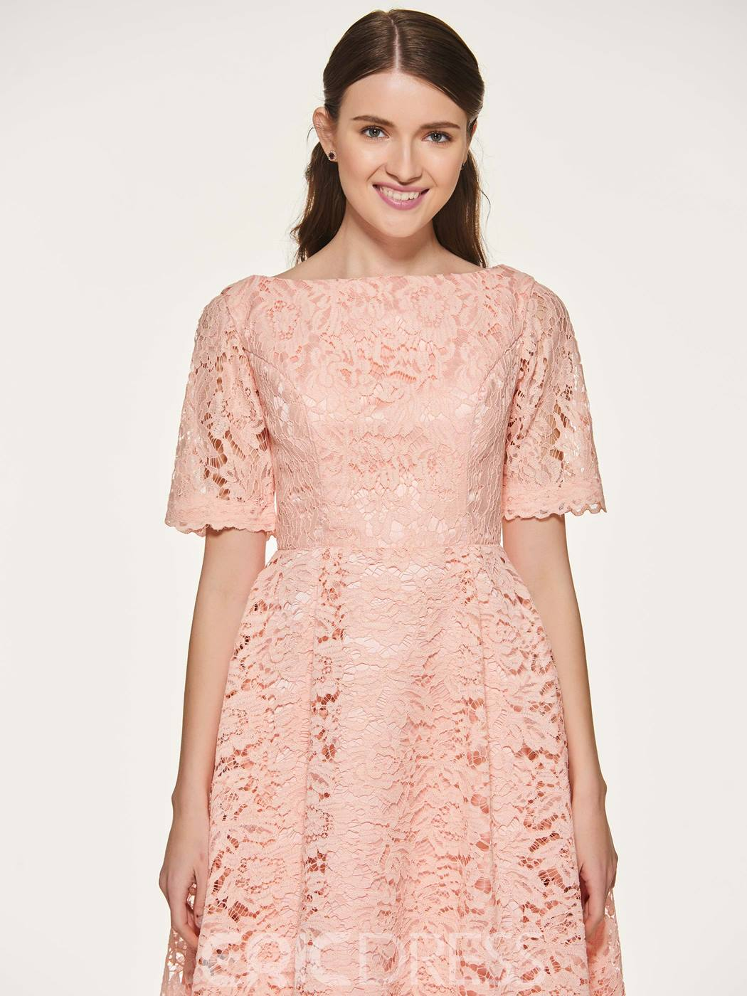 Ericdress A Line Tea Length Lace Bridesmaid Dress