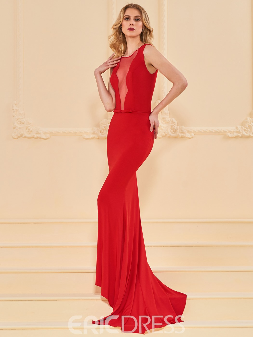 Ericdress Sheer Front Red Mermaid Evening Dress With Train